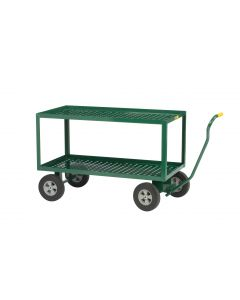 """Little Giant 2-Shelf 24x48 Wagon Truck with Perforated Deck 10"""" Solid Tires 2LDWP244810G"""