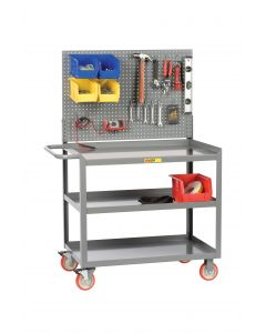 Little Giant Mobile Workstation with Pegboard or Louvered Panel and 3 Shelves 3MW24365TLPB
