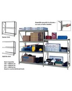 HEAVY-DUTY Z-BEAM STORAGE RACK-ADD-ON UNITS W/O DECKING