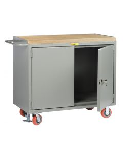 """Little Giant Mobile Bench Cabinets With Locking Doors without Center Shelf and Available in 1-3/4"""" Butcher Block MJ2D2448FL"""