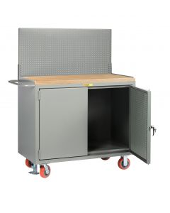 Little Giant Mobile Bench Cabinets with Pegboard or Louvered Panel Doors With Pegboard or Louvered Top Panel MJPBDFLPB