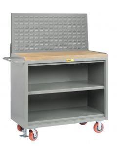 """Little Giant Heavy-Duty Mobile Bench Cabinets With Center Shelf and Available in 1-3/4"""" Butcher Block MJ32448FL"""