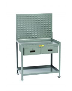 Little Giant Steel Workstation With 2 Locking Storage Drawers and Louvered Panel SW2436LLLP2DR