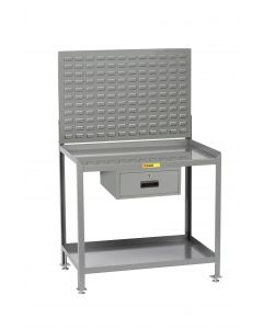 Little Giant Steel Workstation With Locking Storage Drawers and Louvered Panel SW2436LLLPDR