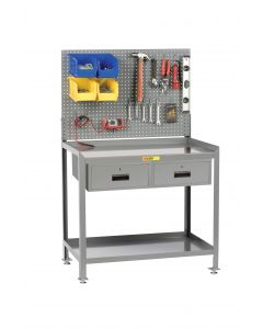 Little Giant Steel Workstation With 2 Locking Storage Drawers and Pegboard Panel SW2436LLPB2DR
