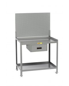 Little Giant Steel Workstation With Locking Storage Drawers and Pegboard Panel SW2436LLPBDR