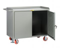 Little Giant Mobile Bench Cabinets with Pegboard or Louvered Panel Doors and Available in Powder Coated Steel MB2448LPDFL