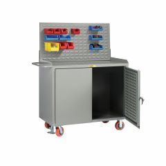 Little Giant Mobile Bench Cabinets with Pegboard or Louvered Panel Doors With Pegboard or Louvered Top Panel MBLPDFLLP