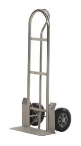 """Stainless Steel """"P"""" Handle Hand Trucks - Solid Rubber Wheel - 22"""" x 19"""" x 52"""""""
