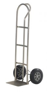 """Stainless Steel """"P"""" Handle Hand Trucks - Solid Rubber Wheel - 21"""" x 18"""" x 52"""""""